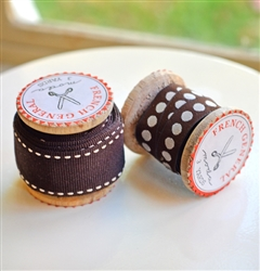 French General Ribbon: Brown Dots & Grosgrain