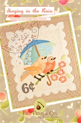 "A vintage ""stamp"" wall hanging with two adorable sparrows perched on a branch, huddling under a springtime umbrella"